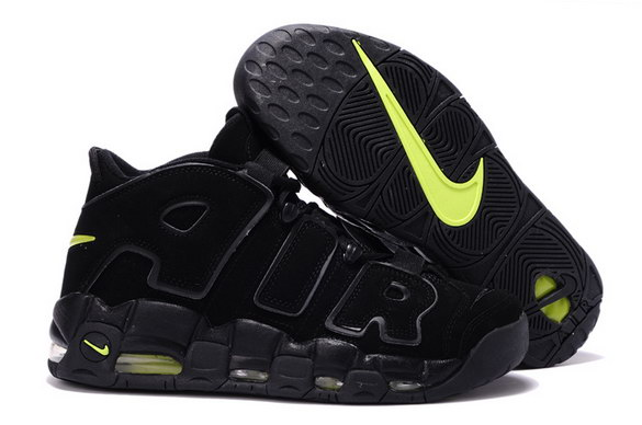 Air More Uptempo Shoes Black/green - Click Image to Close