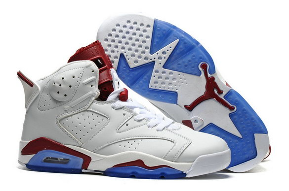 Air Jordan 6 Retro Shoes White/Dark Red