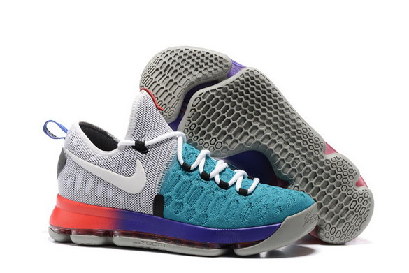 KD 9 Basketball Shoes Grey/Blue Red - Click Image to Close