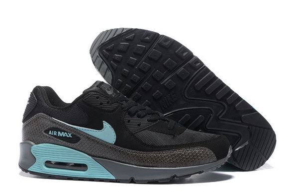 Men's Air Max 90 Shoes Black/Blue Gray - Click Image to Close