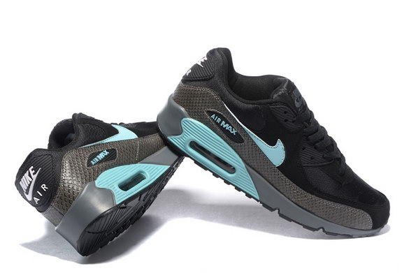 Men's Air Max 90 Shoes Black/Blue Gray