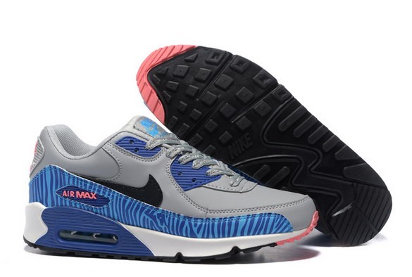 Men's Air Max 90 Shoes Grey/Blue Black