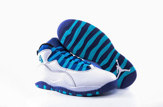 "Air Jordan 10 ""Charlotte"" Shoes White/Concord Blue Lagoon Black"