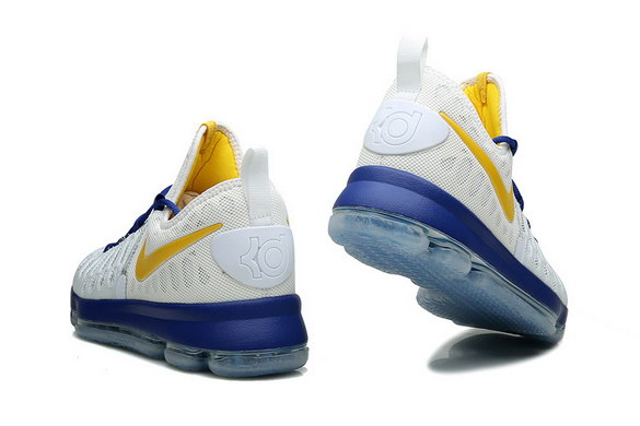 KD 9 Basketball Shoes White/Yellow Blue