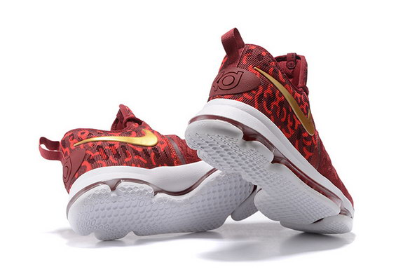 KD 9 Basketball Shoes Deep Red/Gold White