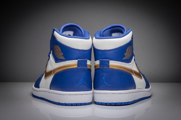 "Air Jordan 1 ""Gold medal "" Shoes Blue/Gold White"