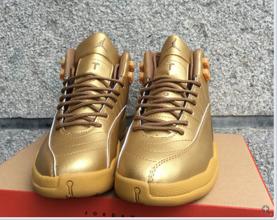 Air Jordan 12 Retro Shoes Gold