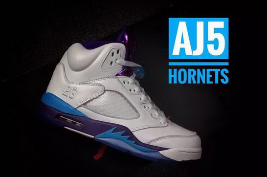 "Air Jordan 5 ""2016 Hornets"" Shoes White/purple blue"