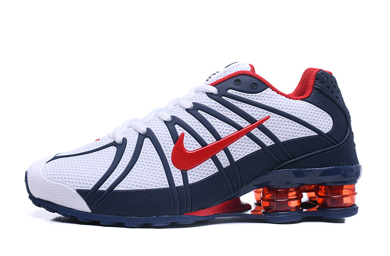 Nike Shox Men Shoes White Blue Red