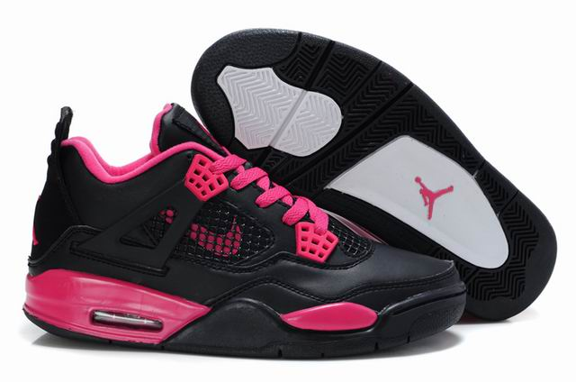 Womens Air Jordan 4 Shoes Black/Red - Click Image to Close