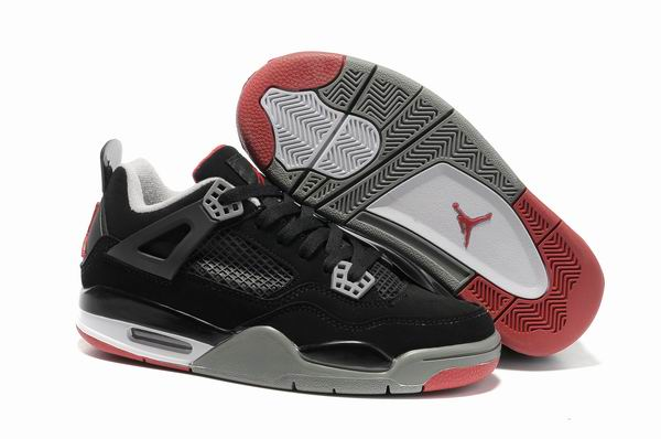 Womens Air Jordan 4 Shoes Black/Wine red