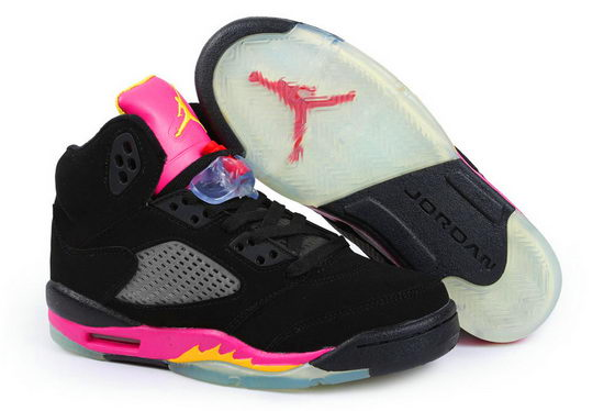 Womens Jordan V Shoes Pink/Black - Click Image to Close