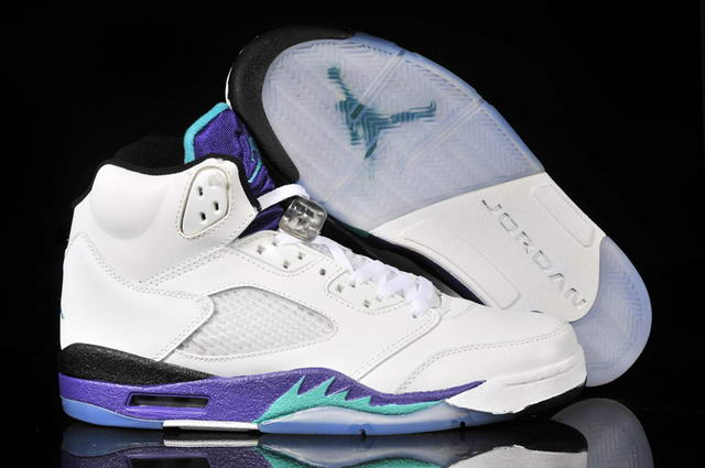WMS Jordan 5 Shoes White/Purple