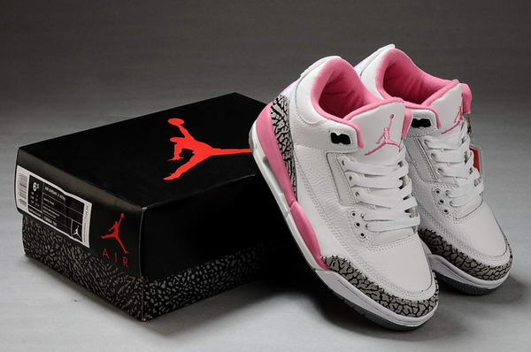 Womens Air Jordan 3 Shoes White/Pink/Black