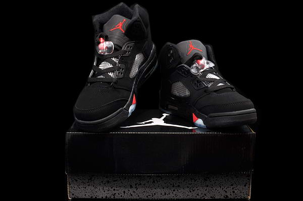 Air Jordan 5 Retro Women Shoes black/hot red white