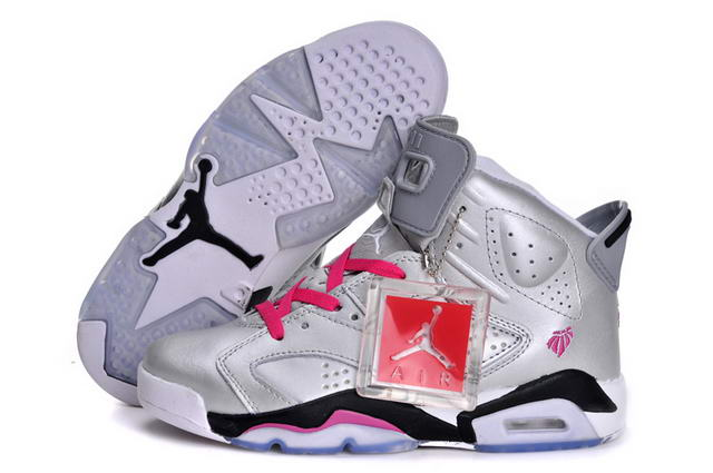 Air Jordan 6 (VI) Retro Women New 2013 Shoes sliver/pink black white - Click Image to Close