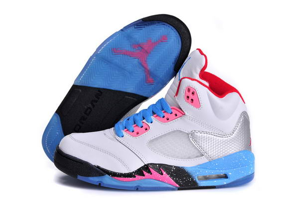 Womens Air Jordan 5 (V) Miami Shoes white/blue pink black red