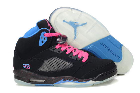 Womens Air Jordan 5 (V) South Coast Shoes black/blue pink