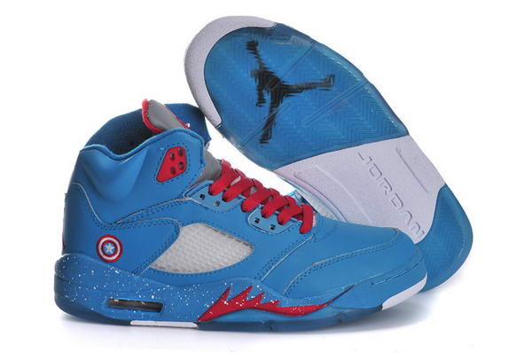 Captain America Air Jordan 5 Womens Shoes blue/red white gray - Click Image to Close