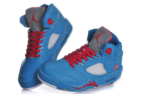Captain America Air Jordan 5 Womens Shoes blue/red white gray