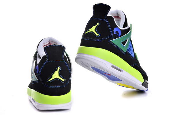 Womens Air Jordan 4 (IV) Retro Shoes black/green yellow blue white