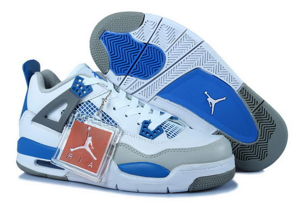 Air Jordan 4 Womens Shoes blue/white gray - Click Image to Close