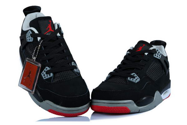 Air Jordan 4 Womens Shoes black/red gray white