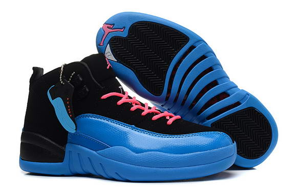 Air Jordan 12 Retro GS Womens Shoes Gamma Blue/black pink - Click Image to Close