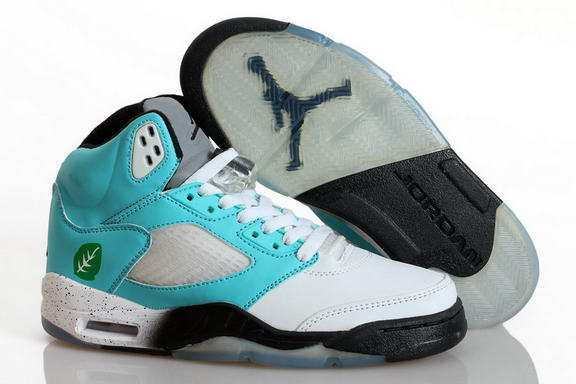 Girls Air Jordan 5 Retro Shoes Blue/white black