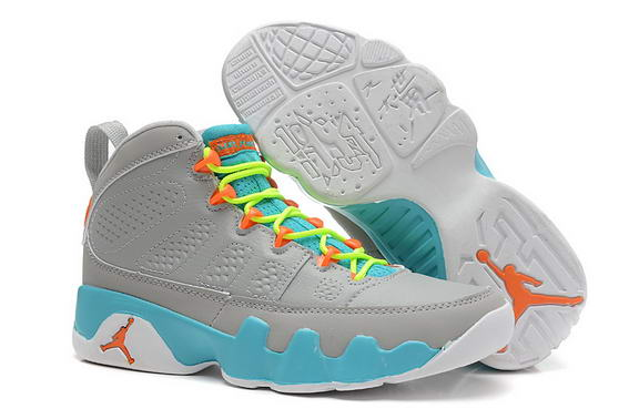 Womens Air Jordan 9 Retro Shoes Gray/University Blue orange