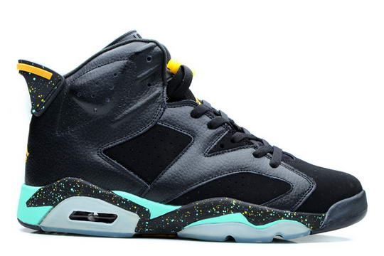 Womens Air Jordan 6 Brazil pack Shoes Black/blue yellow
