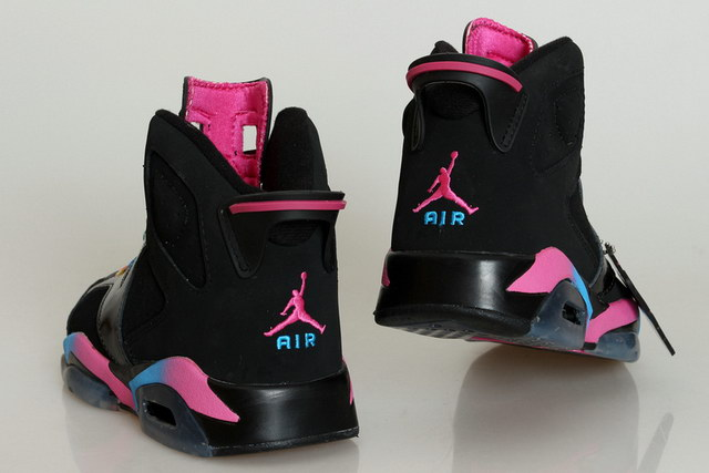 Womens Air Jordan 6 Shoes Black/Rainbow