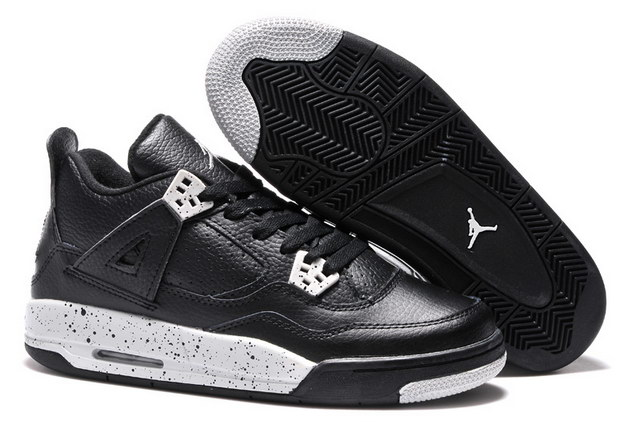 Air Jordan 4 For Womens Shoes Oreo Black/gray
