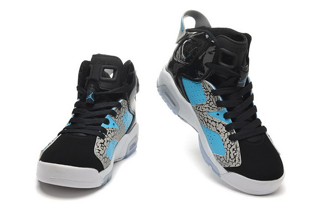 Jordan 6 for Womens Shoes black/blue Elephant Print