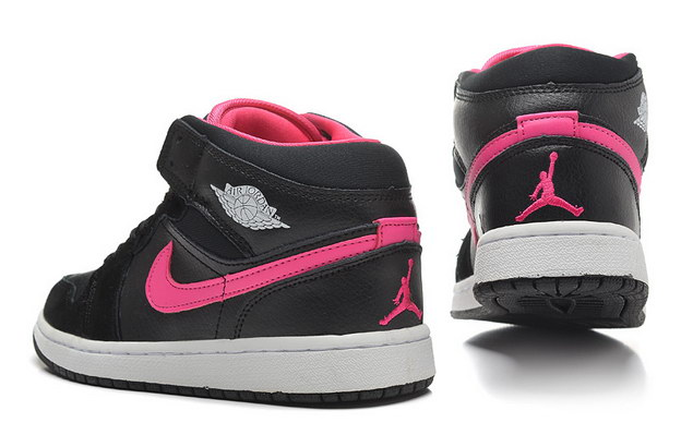 Jordan 1 Girls Shoes black/pink/white