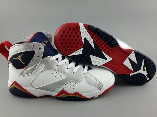 Air Jordan 7 For Womens Shoes White/silver red blue