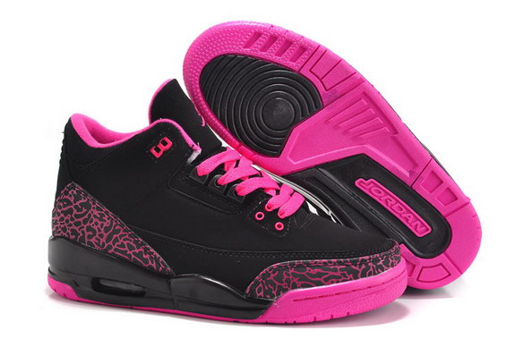 Womens Air Jordan 3 GS Shoes Black/red