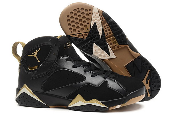 WMNS Air Jordan 7 GS Shoes Black/gold