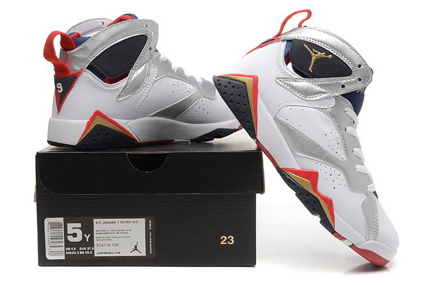 WMNS Air Jordan 7 GS Shoes White/silver blue black red