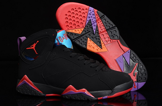 Womens Air Jordan 7 GS Shoes Black/red blue