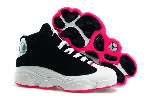 Womens Jordan 13 Hyper Pink GS Shoes Black/pink white