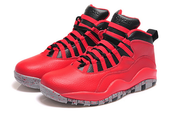 Womens Air Jordan 10 Shoes Red/black grey