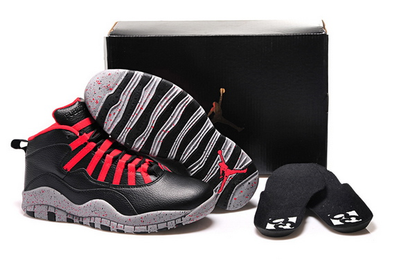 Womens Air Jordan 10 Shoes Black/grey red