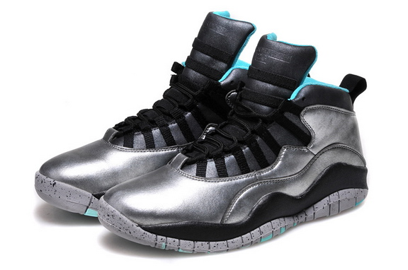 Womens Air Jordan 10 Shoes Silver/Black blue