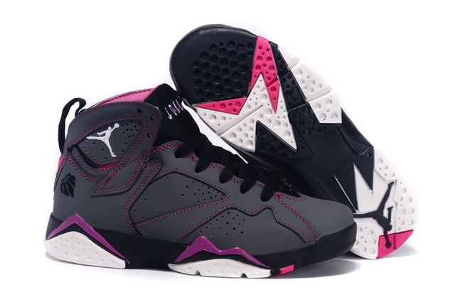 Womens Air Jordan 7 Retro Shoes Dark grey/purple white