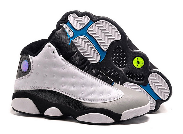 Womens Jordan 13 Retro Shoes White/Grey black blue - Click Image to Close