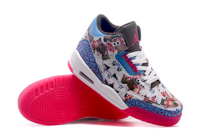 Womens Air Jordan 3 Shoes Pink/blue white