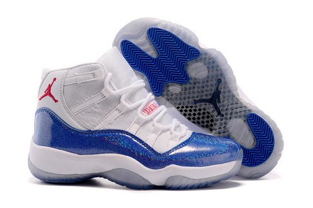 Cheap Jordan 11 Womens Girls Shoes Blue/white red