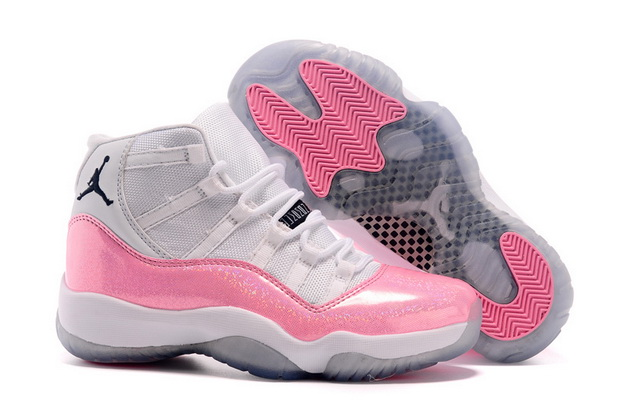 Cheap Jordan 11 Womens Girls Shoes Pink/white black