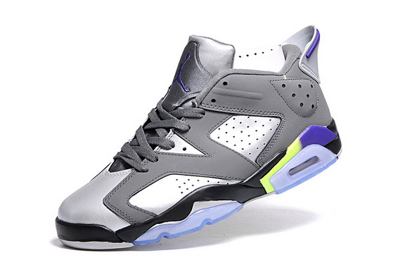 Air Jordan 6 Womens shoe Grey/balck green purple